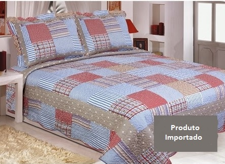 Kit Colcha Patchwork King Dupla Face 2,60x2,80 Realce Top