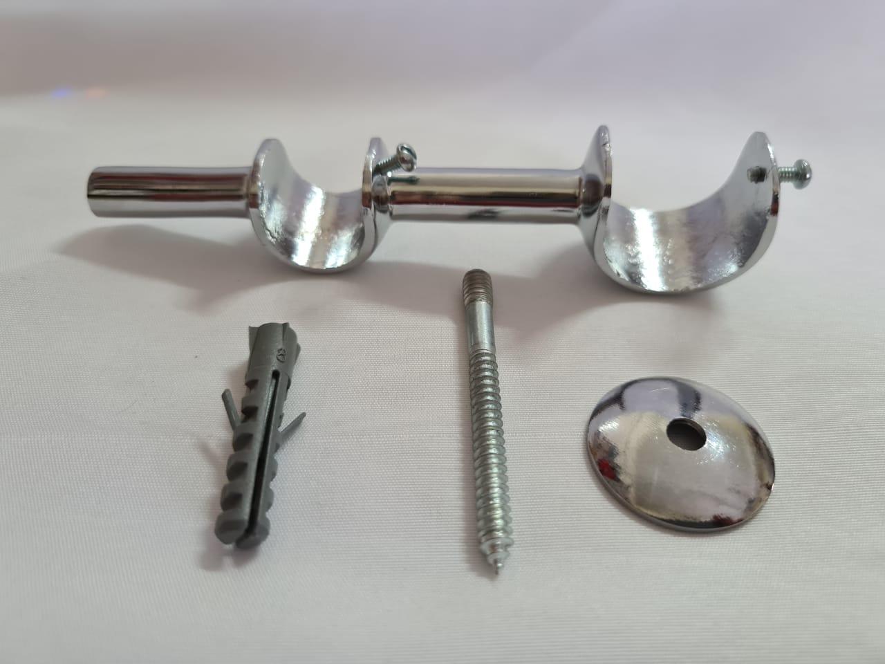 Kit Com 3 Suporte Para Parede Duplo Cromado 19/28 mm 1 Furo