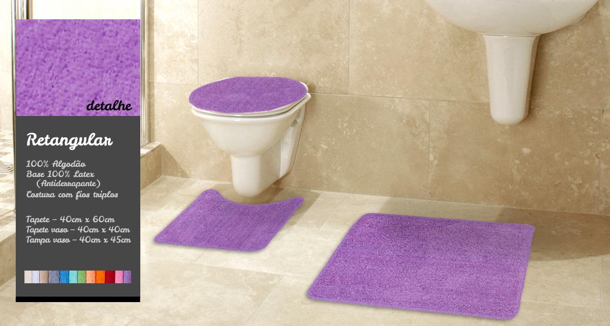 Kit Tapete de Banheiro 3 Pçs Gera Tapetes Collor Liso