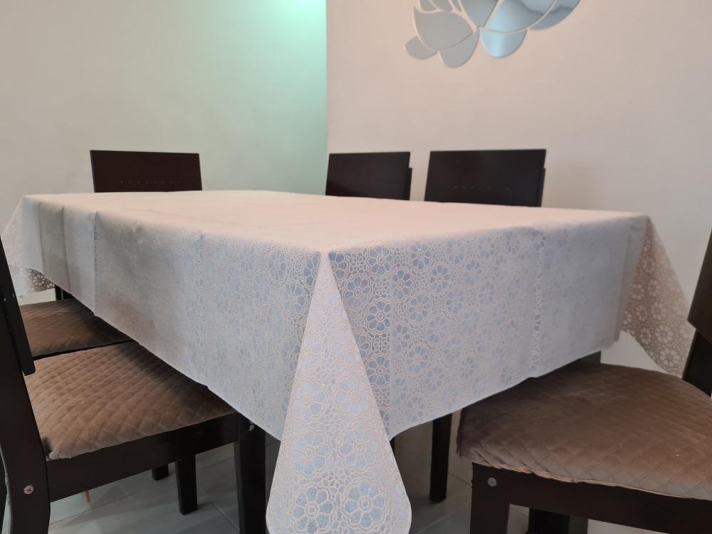 Kit Toalha de Mesa 4Lugares Rendada TNT + Toalha de Cristal