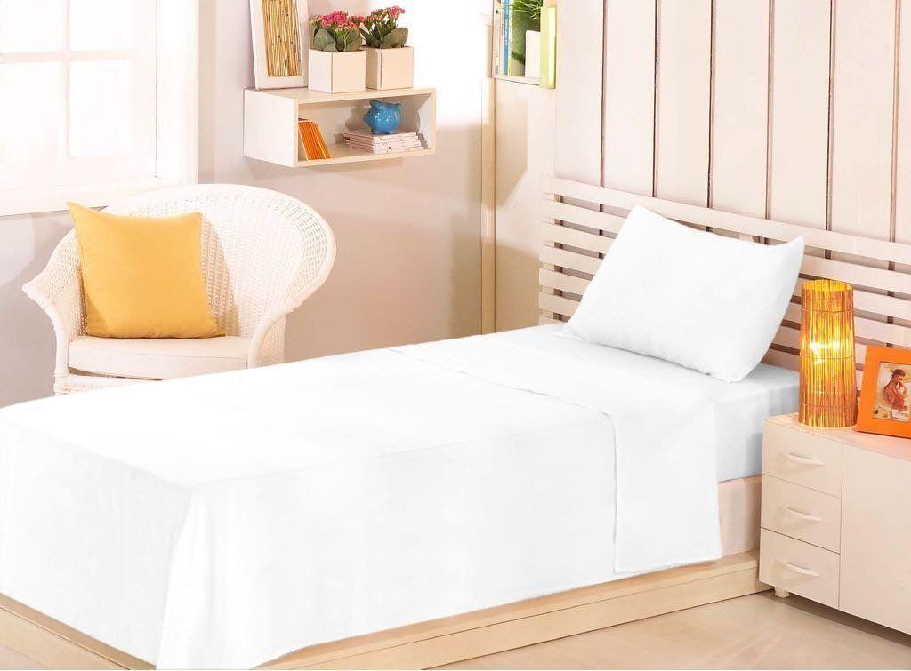 Lençol Solteiro Branco com Elástico Premium Plus 100% Algodão | Estamparia