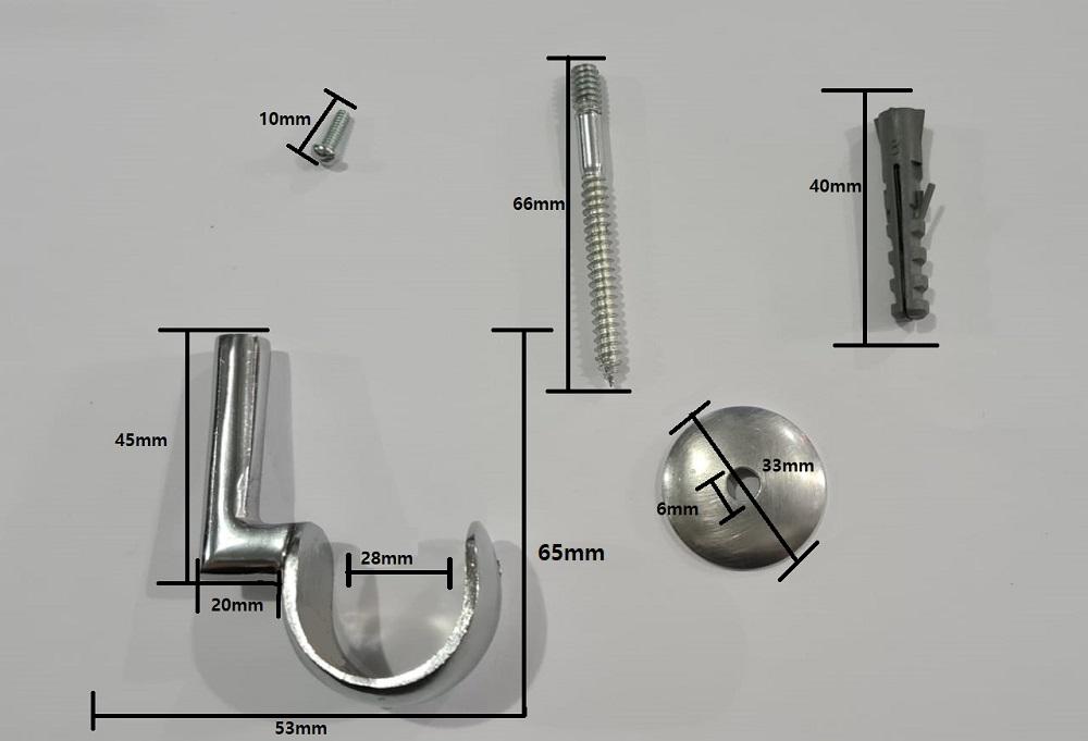 Suporte para teto 28mm - 1 Furo | Admirare