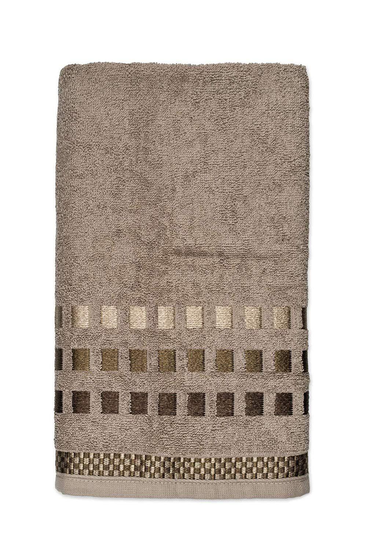 Toalha de Banho Karsten Calera Marrom em Jacquard  67x1,35cm
