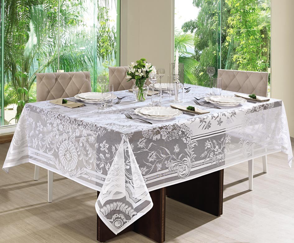 Toalha de mesa Retangular 6 lugares de Crochê Queen 1,55 x 2,00 m | Lepper
