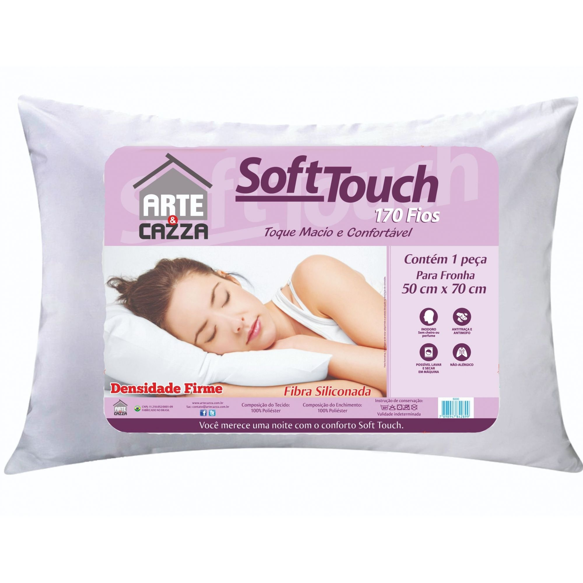 Travesseiro Soft Touch Toque Macio- Fibra Siliconada