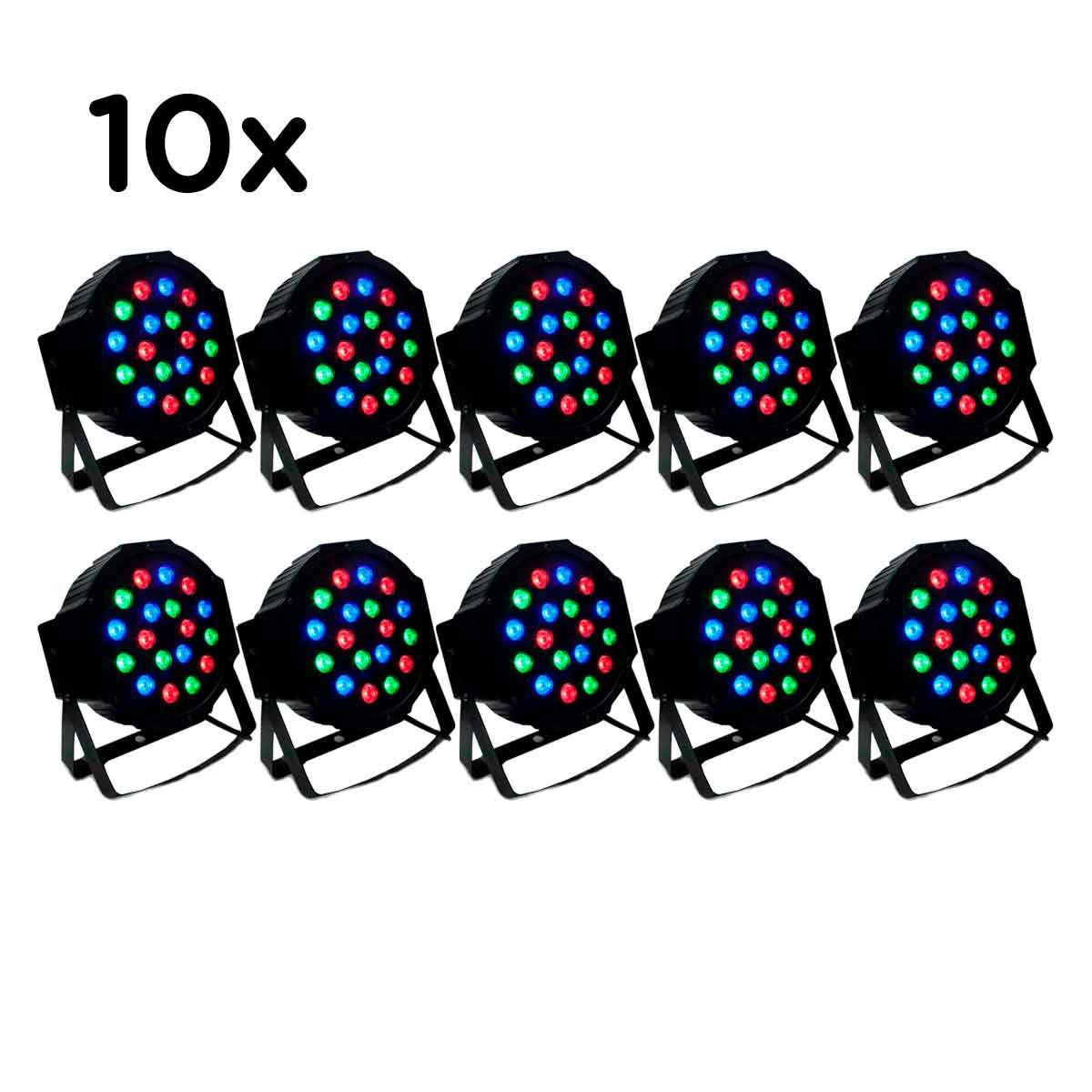 10 Canhão Refletor Led 18 Leds Rgb Bivolt Dmx Digital Strobo