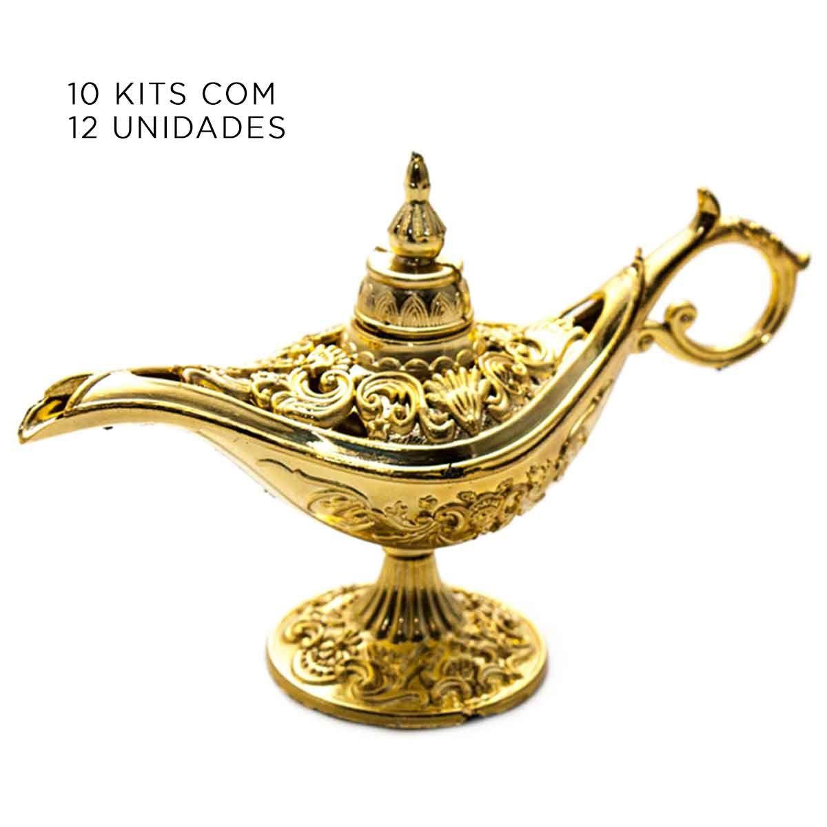 10x Kit Com 12 Mini Lâmpadas Aladim Plástico Douradas Decoração cód3,37