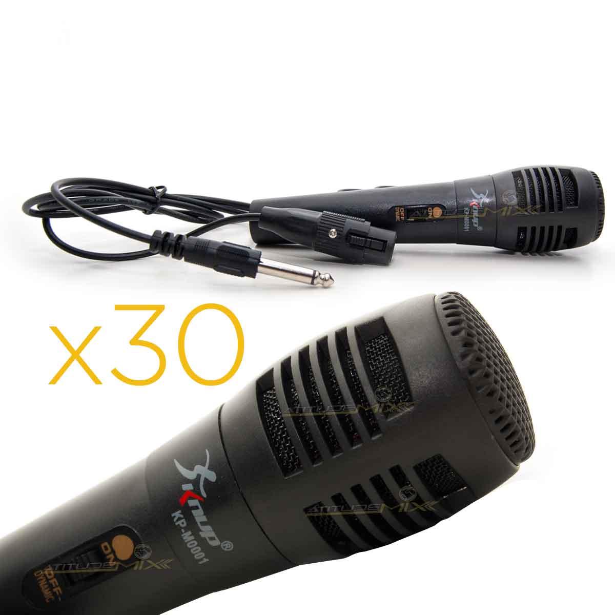 Kit 30 Microfones De Metal Preto Knup
