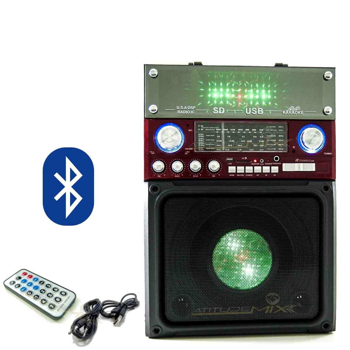 Caixa Som Amplificada Portátil Retrô Bluetooth Usb Cartão