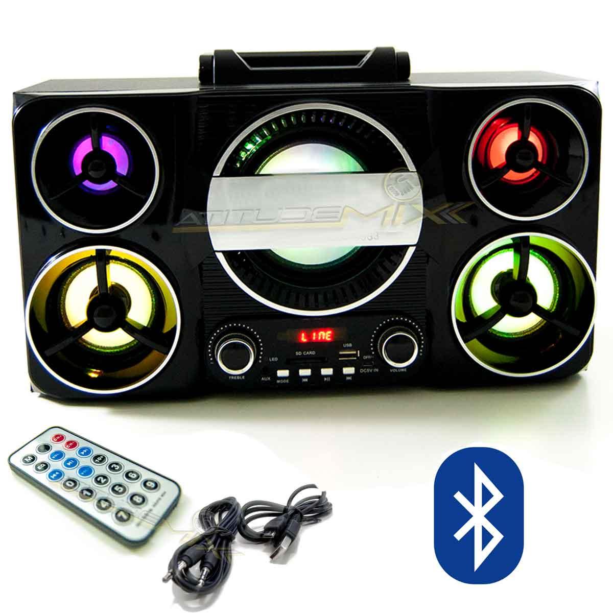 Caixa Som Amplificada Portátil Bluetooth Usb Cartão FM MP3