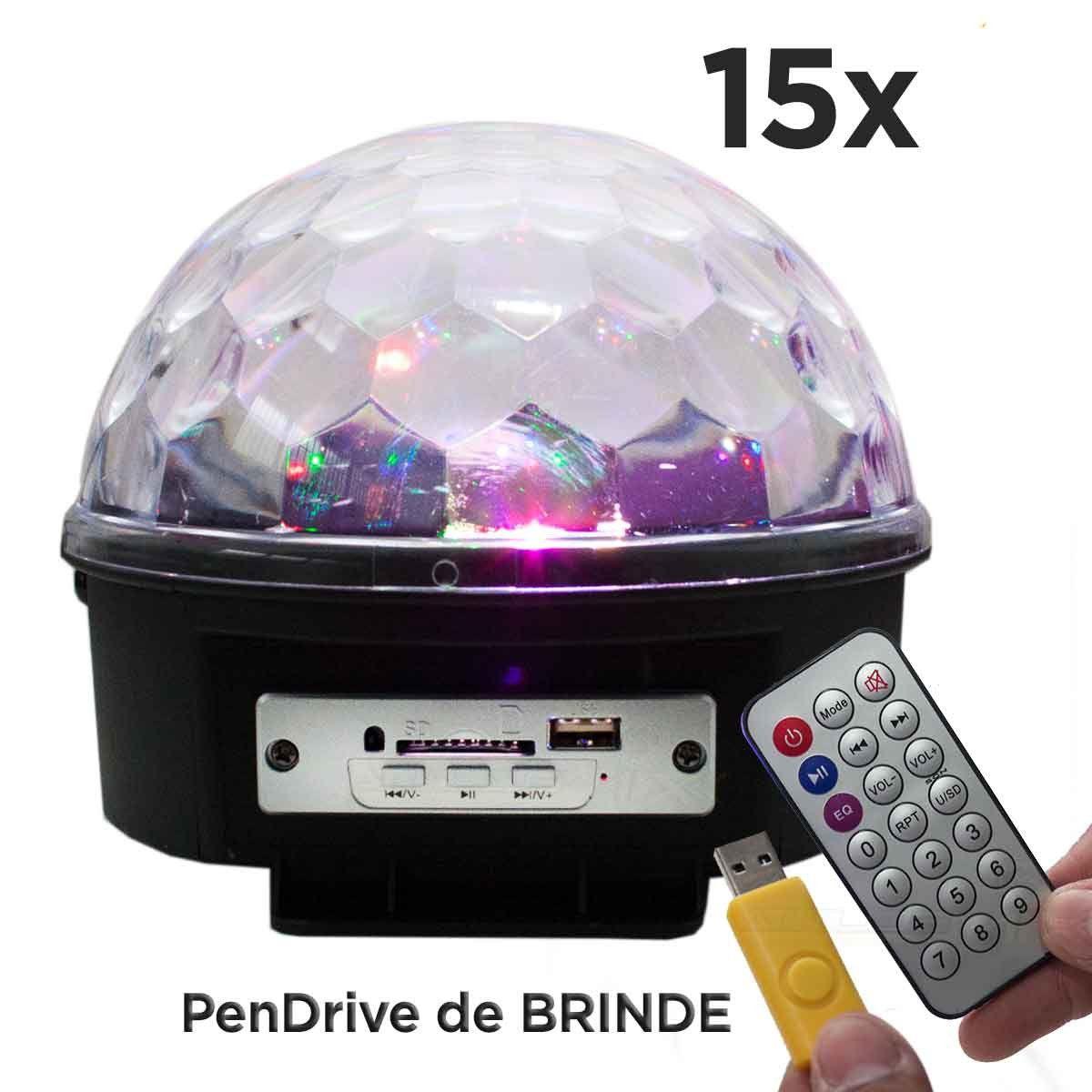 15xGlobo Bola Maluca Led Magic De Cristal Rgb 30w Festas