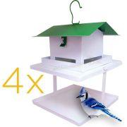 Kit 4 Comedouro Para Pássaros Com Fruteira Fercar