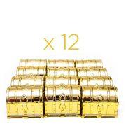 Kit 12 Mini Baú Lembrancinha Festa Decoração Dourado