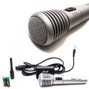 Microfone Metal Profissional Com E Sem Fio 30 Metros Prata
