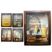 Quadro Porta Tampinhas Cerveja Madeira 35x25cm Mdf Decoração