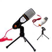 Microfone Condensador Com Cabo Tripé Gravação No Pc Estúdio