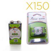 Kit 150 Baterias Recarregáveis 9v 450mah Knup Original
