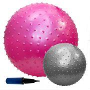 Bola Pilates Yoga Massagem 65 Cm Cravos C/ Bomba Ginástica