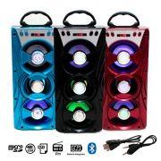 Caixa de som Led Bluetooth Portátil 12w Cartão USB Rádio P2