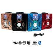 Caixa Som Bluetooth Porátil 10W Led Cartão USB Rádio FM