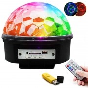 Globo Bola Maluca Led Magic Cristal Rgb Festas Mp3 Controle