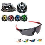 Kit Capacete Ciclista Ciclismo Bike + Óculos Esportivo Cores