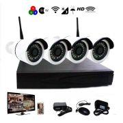 Kit Nvr 4 Câmeras Sem Fio Hd 720p Wi-fi Infravermelho