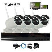 Kit NVR 4 Câmeras Wi-Fi Infravermelho 100m Sem Fio HD 960p