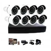 Kit Nvr 8 Câmeras Sem Fio Hd 720p Wi-fi Infravermelho