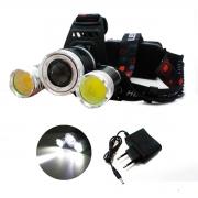 Lanterna De Cabeça Recarregável 3 Leds Tática Pisca Bike
