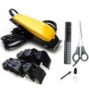 Máquina Cortar Cabelo Barba Profissional 13 Pçs 110v Amarela