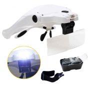 Óculos Lupa 5 Lentes Luz LED Cabeça Dentista Costura Reparos