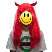 Peruca Diabinha Vermelha Chifres Festa Carnaval Cosplay