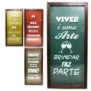 Quadro Porta Rolha Vinho 25x55 Madeira Mdf Decoração