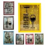 Quadro Porta Rolha Vinho 30x40 Madeira Mdf Decoração