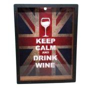 Quadro Porta Rolhas Vinho 30x20cm Keep Calm Wine Moldura Mdf