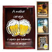 Quadro Porta Tampinhas 25x35 Cerveja Decoração Mdf