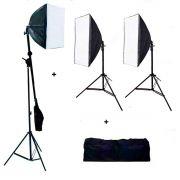 Kit 2 Softbox 50x70 Cm + Bolsa Luz E27 + Softbox 40x40 Cm