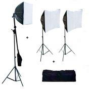Kit 2 Softbox 50x70 cm + Softbox 40x40 cm + Bolsa Luz E27