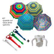Kit Guarda Sol Gigante Articulável 2,40 Metros Sol Praia Verão + Saca Areia + Gancho