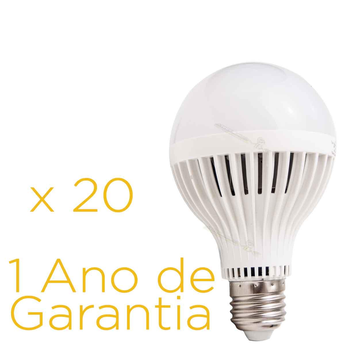 Kit 20 Lâmpadas Led 9w E27 Bulbo Bi-volt 90% Mais Econômico
