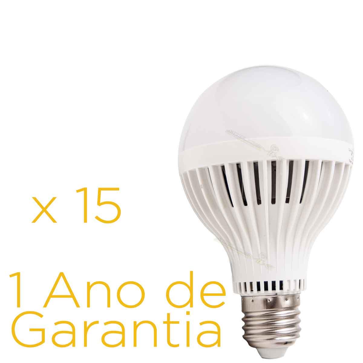 Kit 15 Lâmpadas Led 9w E27 Bulbo Bi-volt 90% Mais Econômico