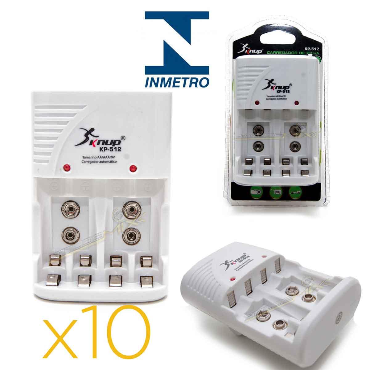 Kit 10 Carregadores De Pilha Aaa Aa Bateria 9v Knup Inmetro