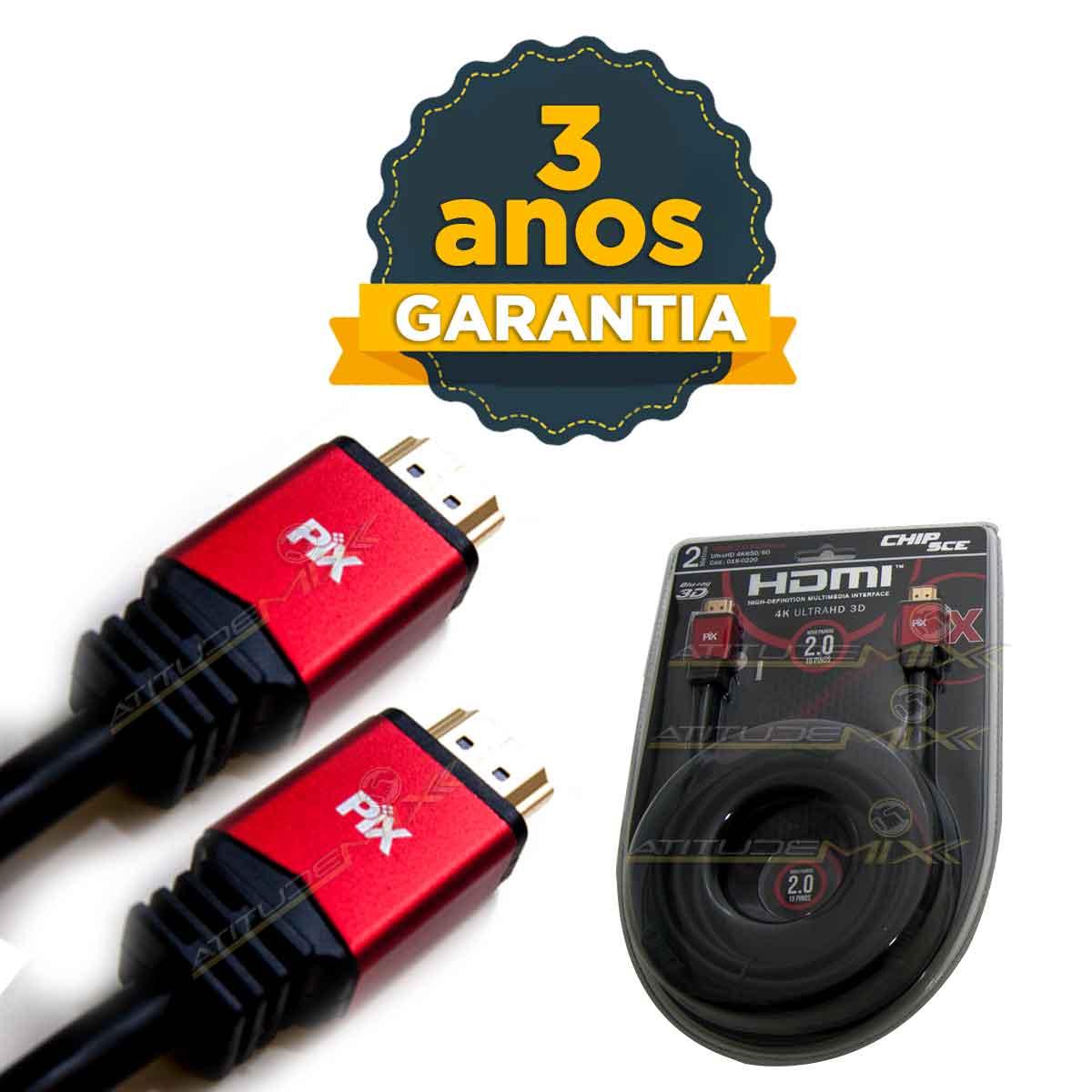 Cabo Hdmi 2.0 4k 2 Metros Premium 19 Pinos 2m Ultra Hd 3d