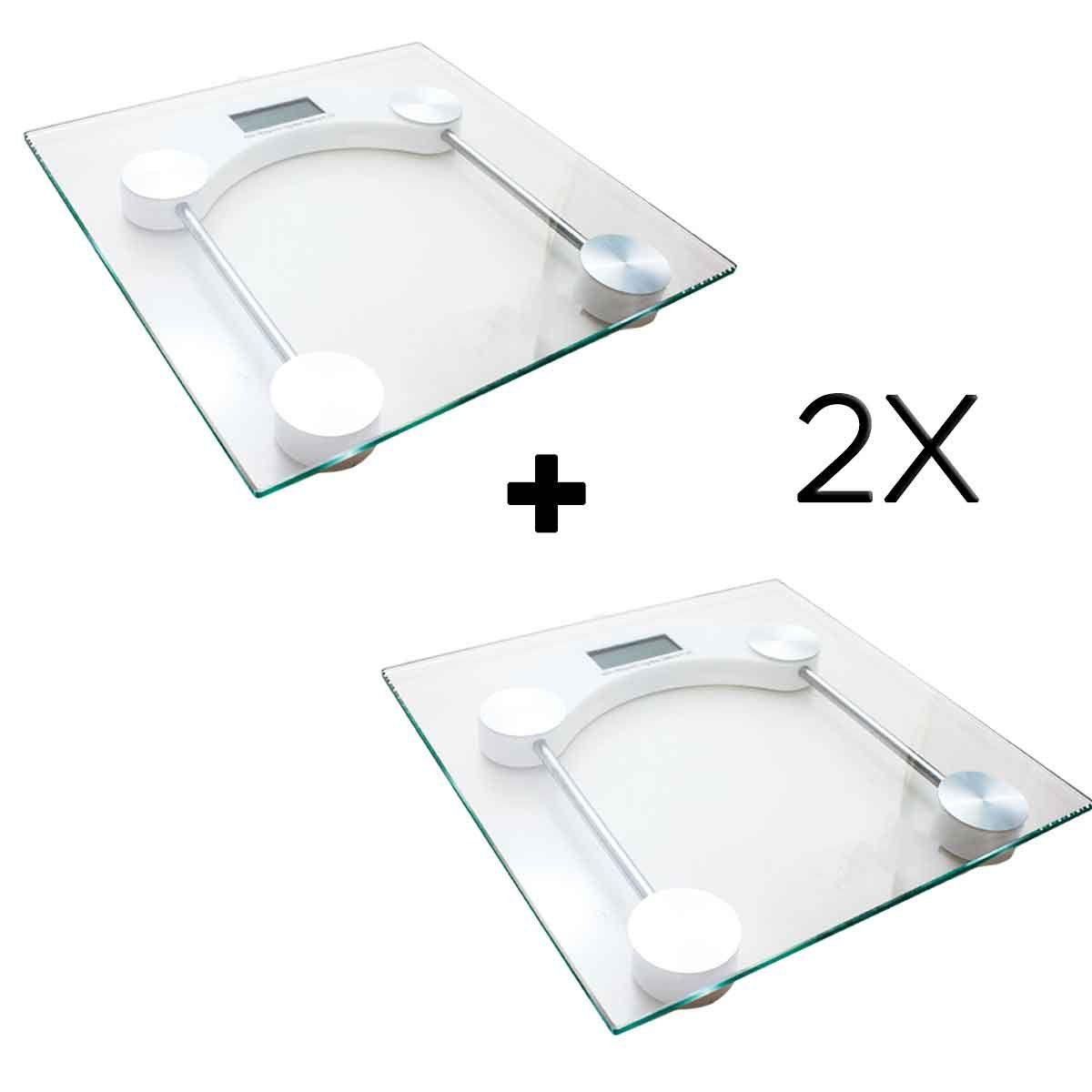 2x Balança Digital Quadrada Vidro Temperado Banheiro Academias
