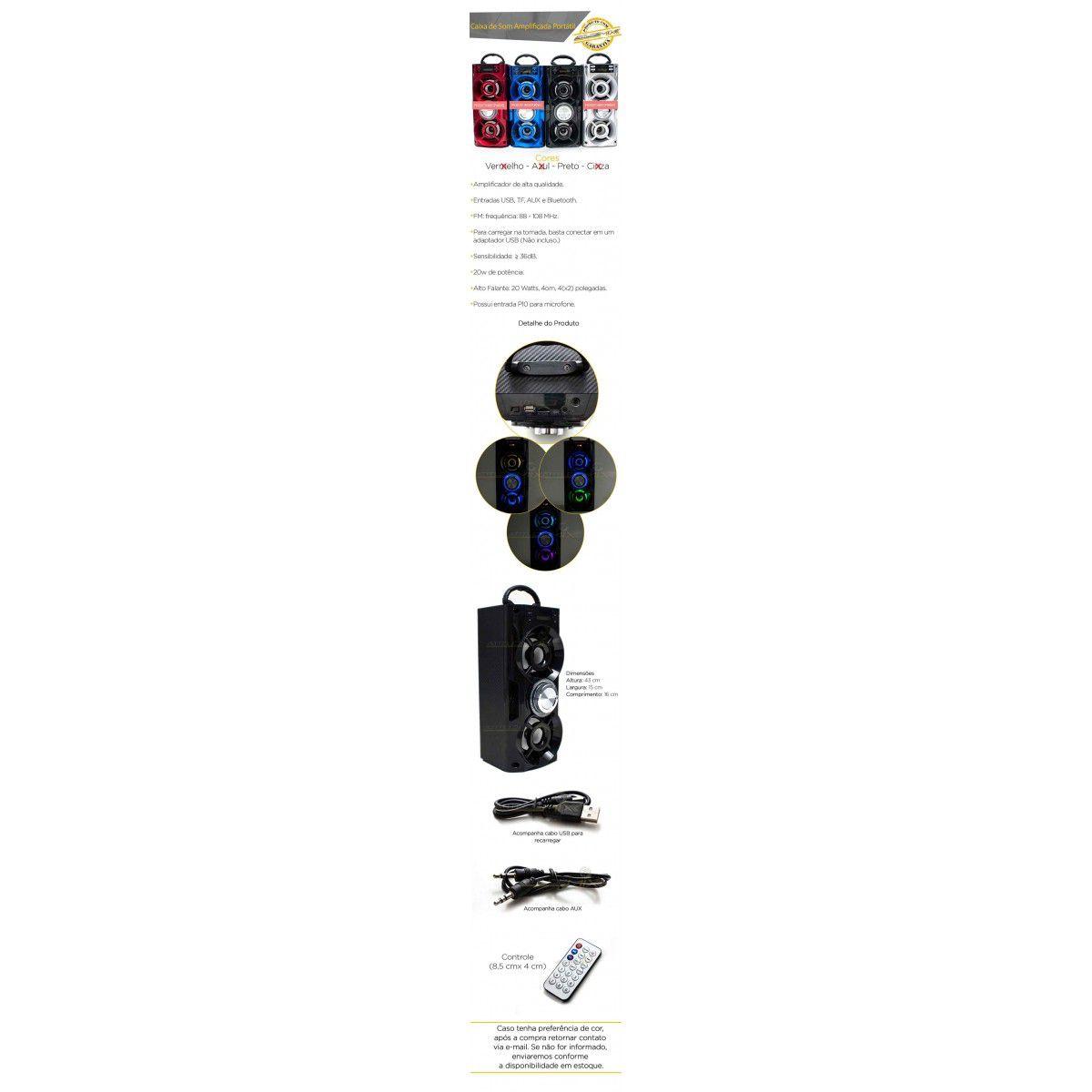 Caixa Som Amplificada Portátil Bluetooth AUX 20W Entrada P10