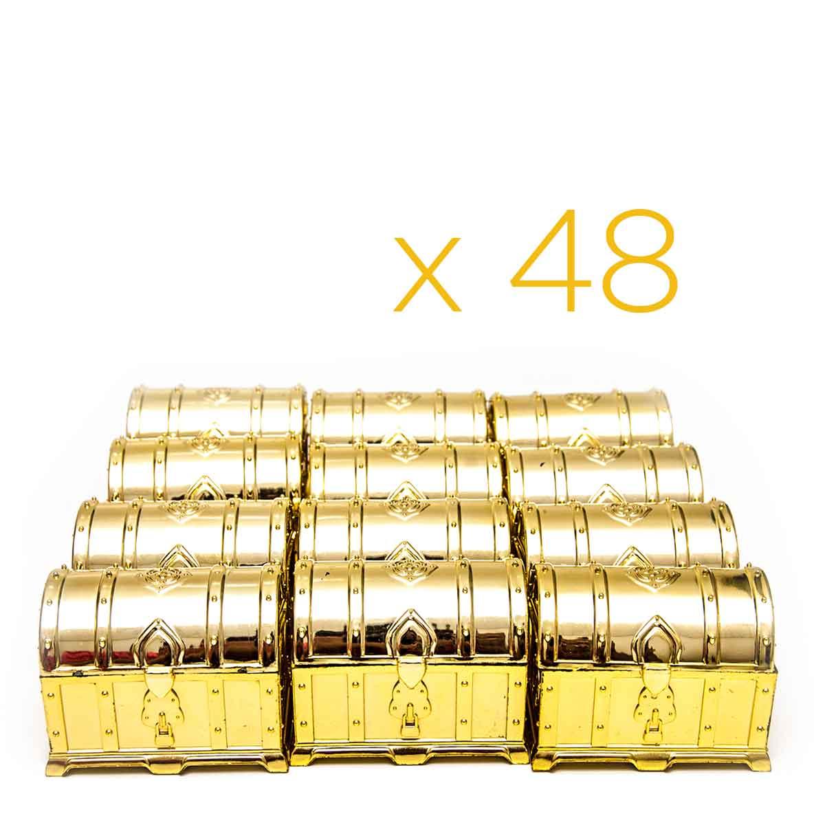 Kit 48 Mini Baú Lembrancinha Festa Decoração Dourado