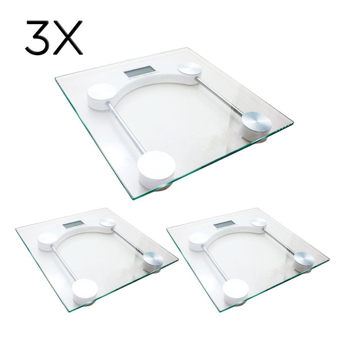 3x Balança Digital Quadrada Vidro Temperado Banheiro Academias