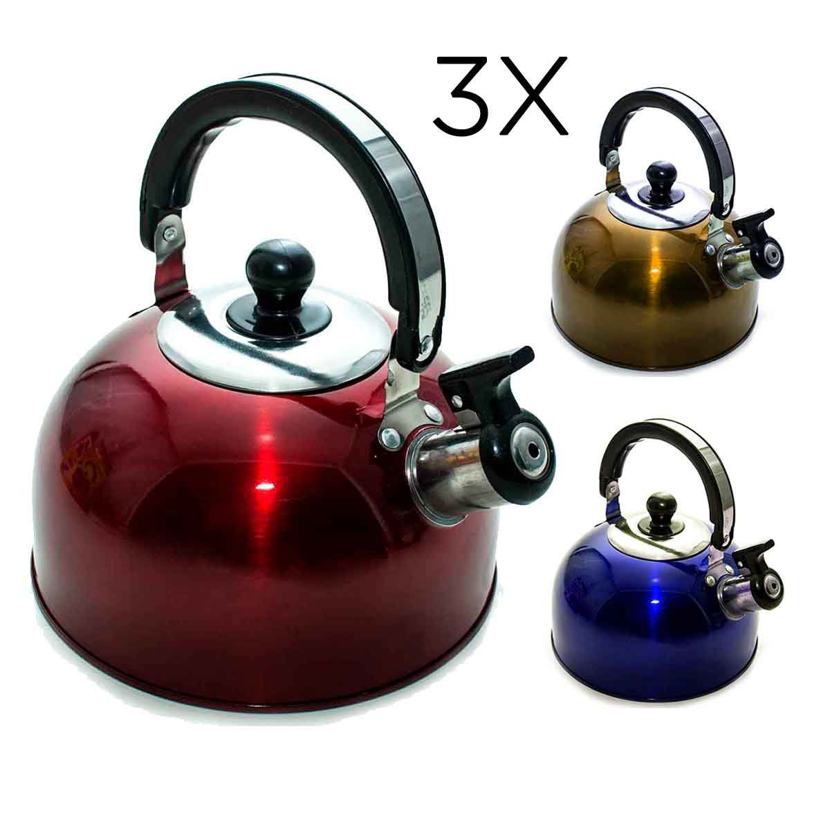 3x Chaleira Aço Inox 2 Litros Com Apito Alça Cozinha Água