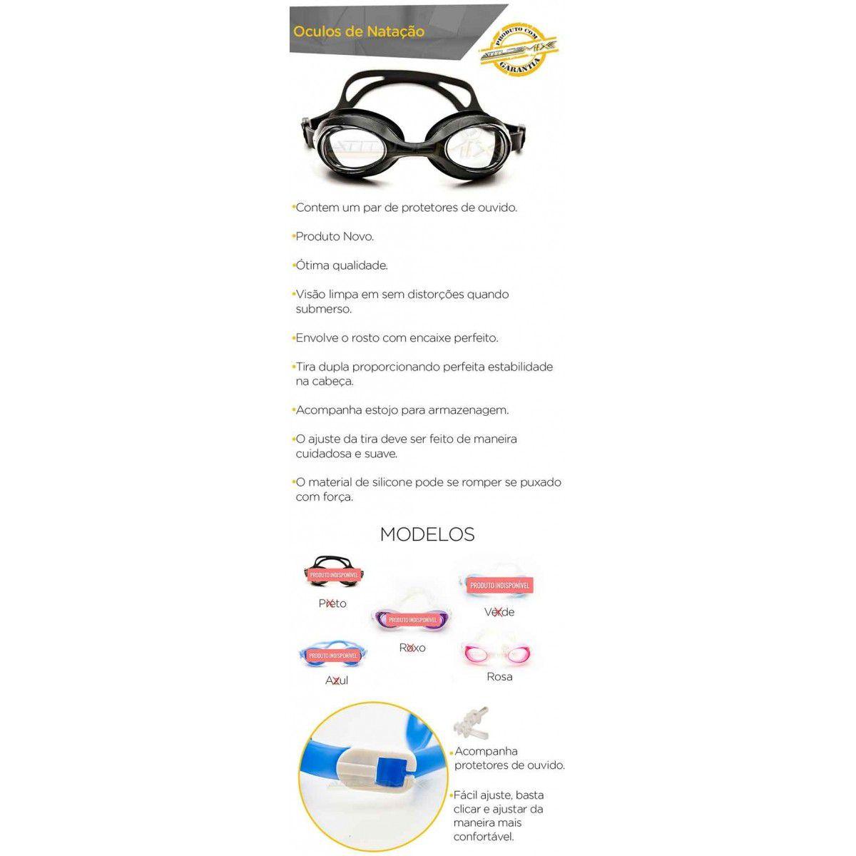 Óculos Natação Adulto Silicone Piscina E Esportes Aquáticos